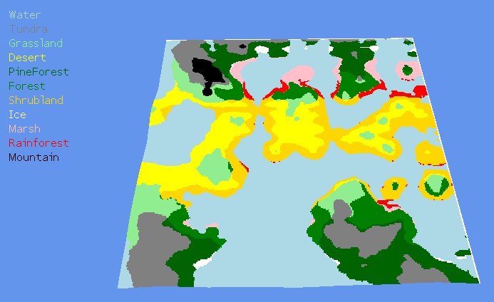 A fully generated biome map